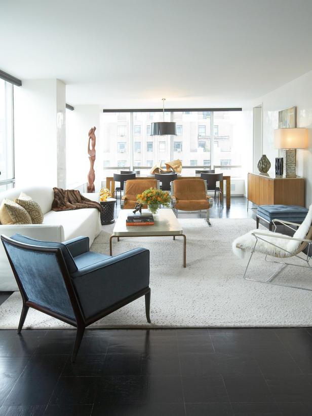 A contemporary/modern living room. Courtesy of David Scott Interiors