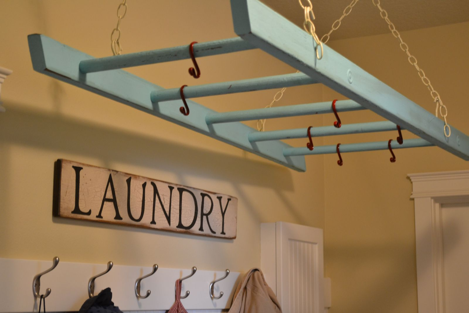 Laundry Rack from Little Lucy Lu and Remodelaholic