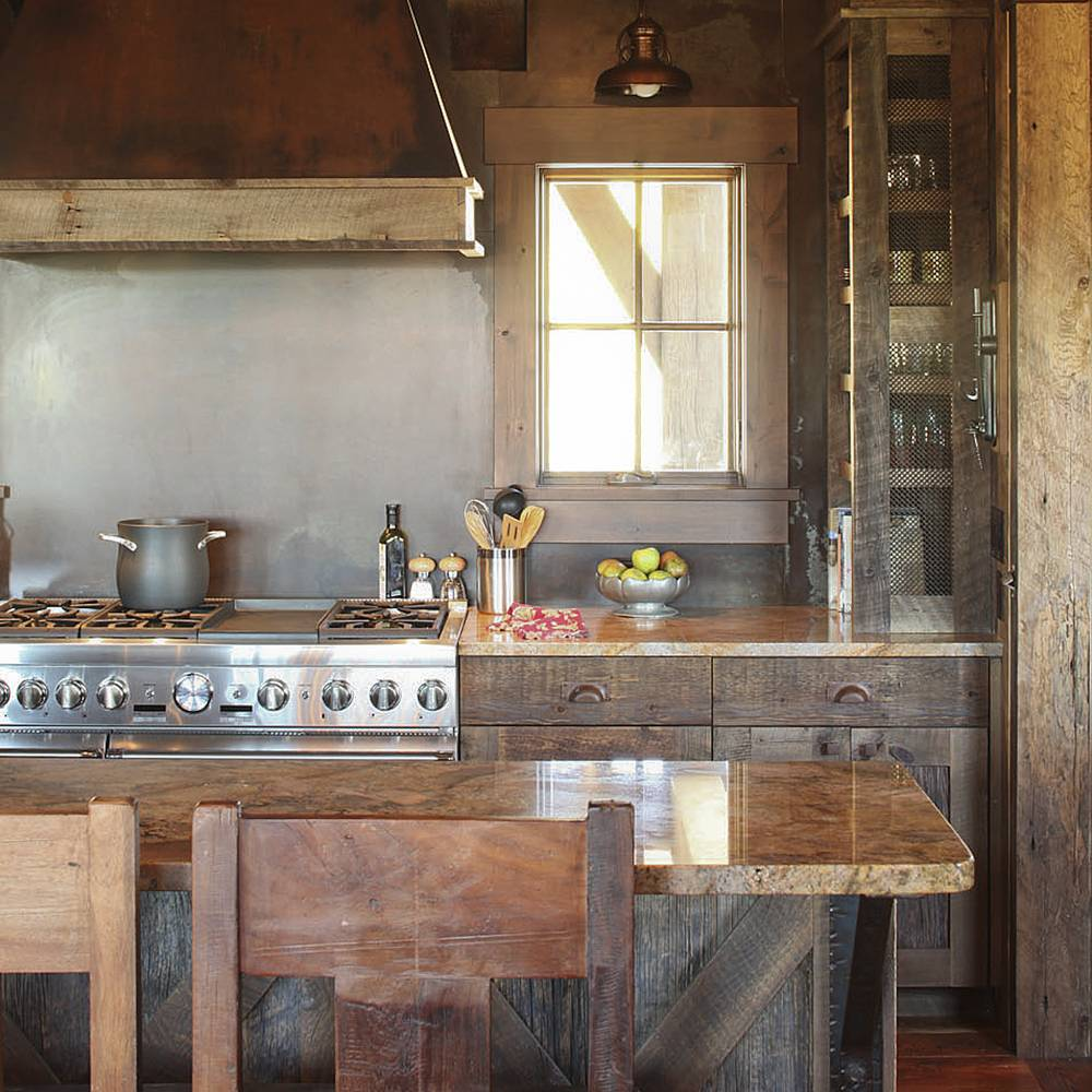 Reclaimed Wood Kitchen Island With Cabinets