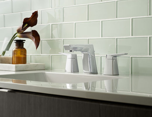 The faucet offers a beautiful contrast of clean modern elegance and stirring visual angularity.