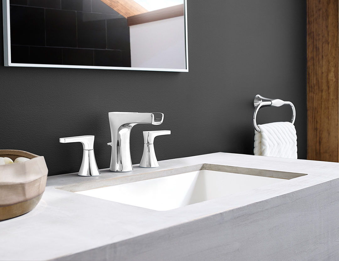 The Kelen Collection balances minimalistic lines with more streamlined elements, making this collection extremely versatile for a variety of modern and contemporary bathroom designs.