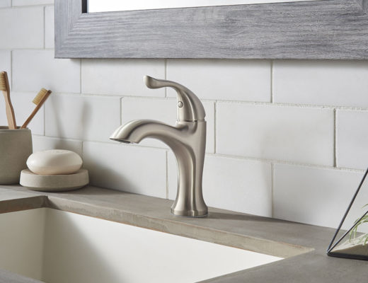 Craftsman bathroom gets its good looks back pfister for Craftsman style kitchen faucets
