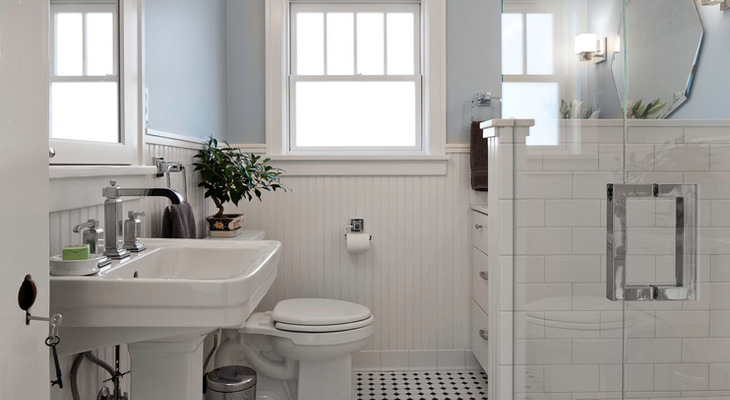 Craftsman bathroom gets its good looks back pfister for 1980s bathroom decor