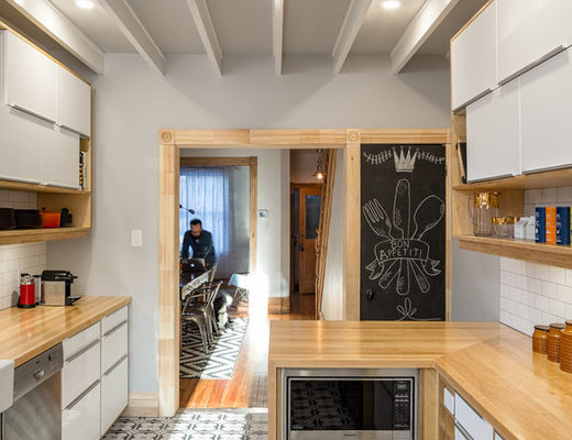More lighting, warm wood and funky floor tile energizes the new space.