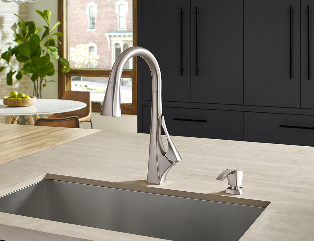 The Venturi Kitchen Faucet with Spot Defense finish from Pfister Faucets.