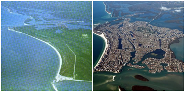 Marco Island before and after the development project.