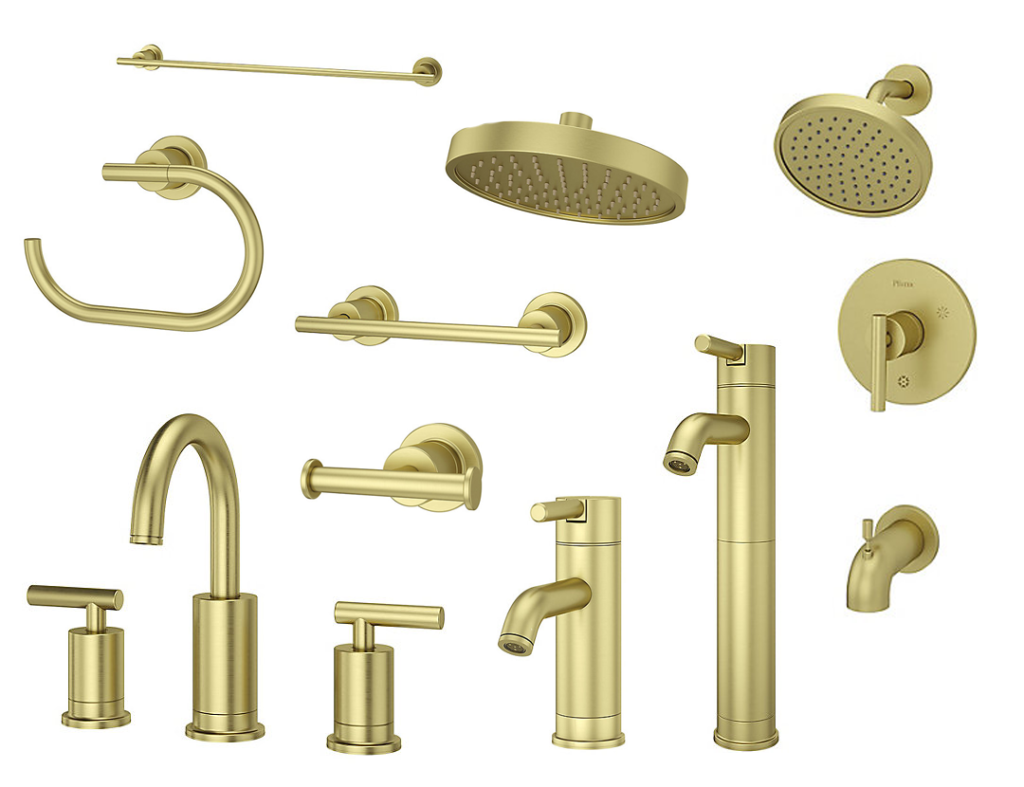 The Contempra Bath Collection in Brushed Gold